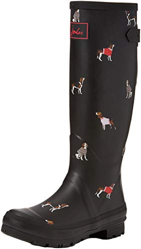 Joules Women's Welly Print Wellington Boots (Black Jumper Dogs Blkjdog), 5 Uk (38 Eu)