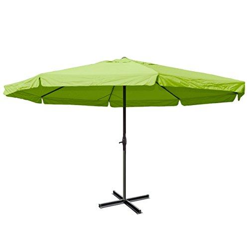 Alu-Sonnenschirm Meran Pro, Gastronomie Marktschirm mit Volant Ø 5m ~ grün ohne Ständer