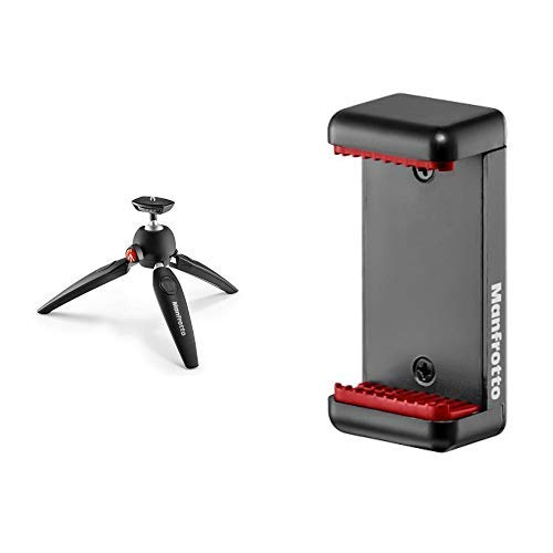 Manfrotto MTPIXIEVO-BK Pixi Evo Mini-Stativ (2 Segment) schwarz &  MCLAMP  Smartphone Halterung schwarz