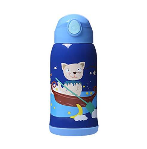 HongTeng Kinder-Isolierbecher mit Strohhalm aus Edelstahl 316 Kinderbruchsicherer Wasserkocher (Color : Blue) (24 Ofen-filter 36)
