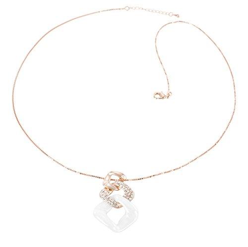 Image of Stella Maris White  Ceramic Diamond Pendant Necklace of 50cm CRH158R