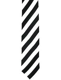 Skinny Tie (Tie66)- Men's Black and White Wide Stripe Skinny Tie