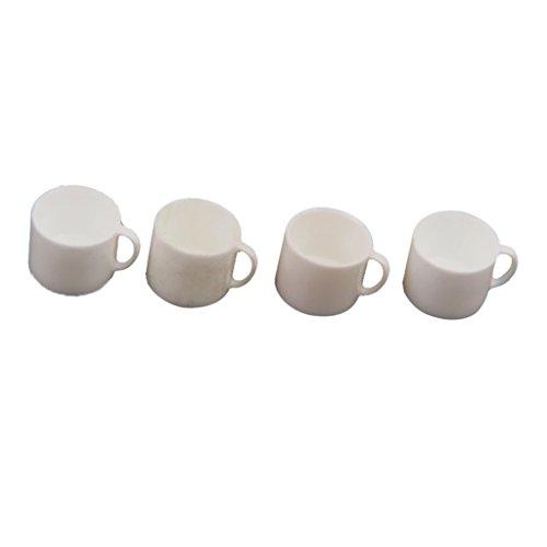 Sharplace 4 pcs Puppenhaus Miniatur Geschirr Teeservice Kaffeetassen Kaffee Tassen Set - Weiß - 0,8 x 0,8 cm