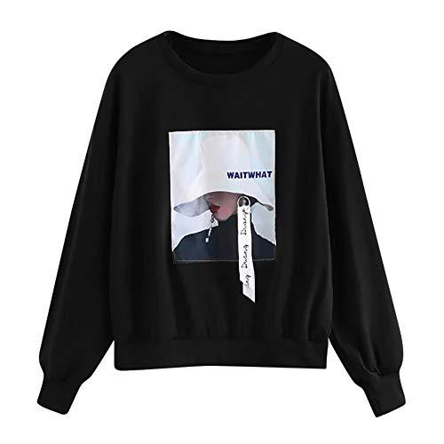 VJGOAL Tops Damen Sweatshirt Große Größen Klassisch Pullover Herbst Winter Freizeit Drucken Rundhalsausschnitt Lange Ärmel Blouse -