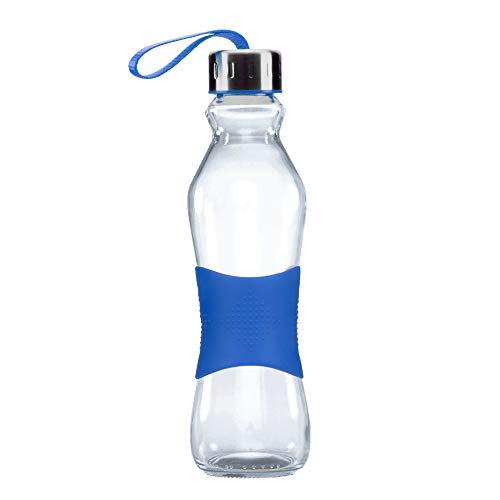 Grip & Go 500ML Glas Trinkflasche - Rutschfester Silikongriff - Edelstahldeckel - BLAUE