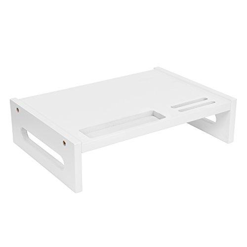 SONGMICS Monitorständer aus Bambus, ergonomischer Bildschirmständer, 10 cm hohe Tischauflage, mit Handyschlitz, Fach für Stifte, Griffe, für Computer, TV, Drucker, groß, weiß LLD211WT