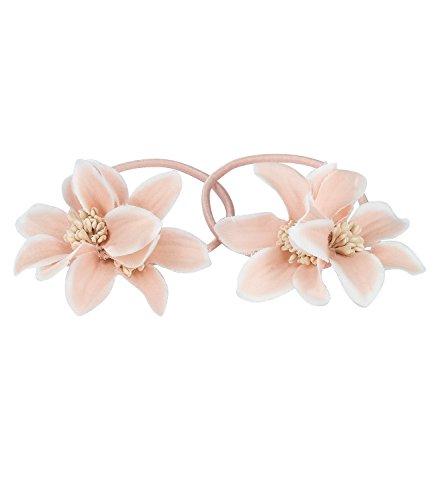 SIX Haarschmuck, 2er Set rosa Haargummis mit Blumen aus Stoff, Blumenschmuck (05-520)