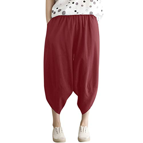 WOZOW Harem Pants Damen Capri Bettwäsche Baumwolle Hippie Solid Einfarbig Irregular Bloomers Casual Loose Long High Waist Saggy Crop Trousers (XL,Rot)