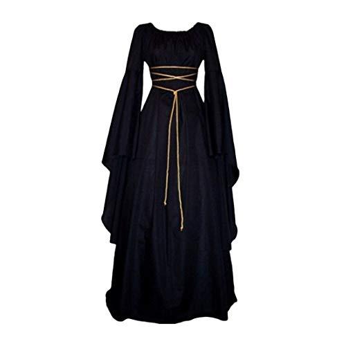 Damen Mittelalter Langarm Kleid - Retro Renaissance Viktorianisch Kostüm Langes Kleider mit Ausgestellte Ärmel für Halloween Party Cosplay
