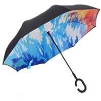 Hapahabie - Paraguas Reversible de Doble Capa, Reversible y Plegable con Mango en Forma de C (protección UV contra el Viento, 84 x 22 x 28 cm)