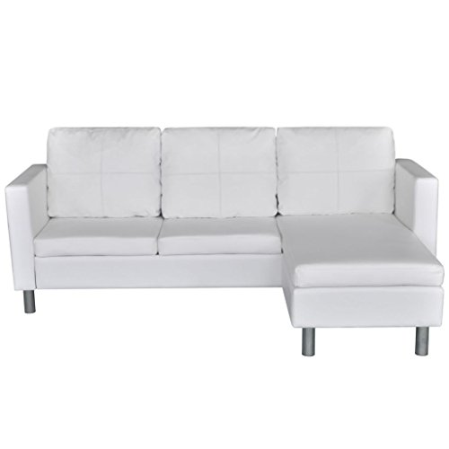 Festnight 3-Sitzer L-Form Schnittsofa Loungesofa Ecksofa Kunstleder-Schnittsofa L-förmiges Sofa mit 3 Kissen Weiß (L-förmige Sofas)