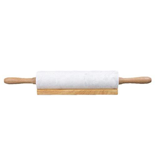 junjunli Marmor Roller Teigroller Stein Teigroller Massivholz Presssstab Nudelholz Rollstab Marmor Trommel Massivholz Basis Haushalt Küche Utensil Backwerkzeug 1700g 1900g, Cloud White 45cm*5cm+ Base