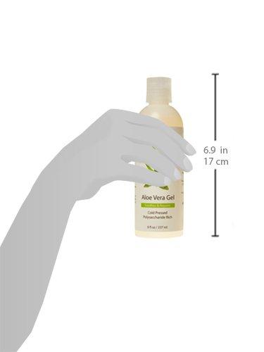 Aloe Vera Gel – From Organic, Cold Pressed Aloe – 100% Natural Skin Care Treatment for Dry, Itchy Skin, Sunburn, Eczema, Psoriasis, Acne, Dandruff, Scalp Itch, Bug Bites, Razor Burn & More – 8 oz