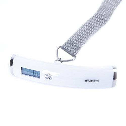 Duronic White LS1008 /W Digital 50KG Capacity Luggage Scales for | Bag | Suitcase | Travel | Digital | Scales Weights with straps and batteries for Travel | Outdoor | Home + Free 2 Year Warranty