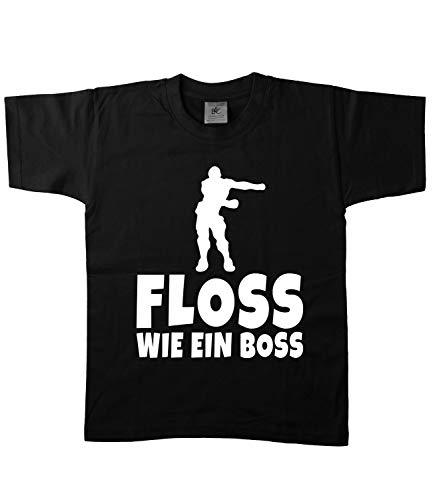 Artdiktat Kinder T-Shirt | Floss Wie EIN Boss | Episch Dance Dancing Zocken Team D241 134/146, schwarz
