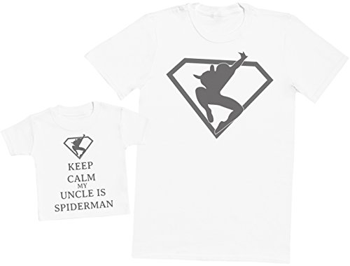 Keep Calm My Uncle is Spiderman - Ensemble Père Bébé Cadeau - Hommes T-Shirt & T-Shirt bébé - Blanc - X-Large & 1-2 Ans