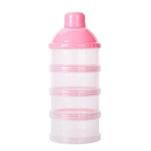 Bebé Leche en Polvo dispensador Alimentación del bebé almacenaje del recorrido Recipiente 6 capas antiderrame apilable Snack contenedor de almacenamiento (rosa)