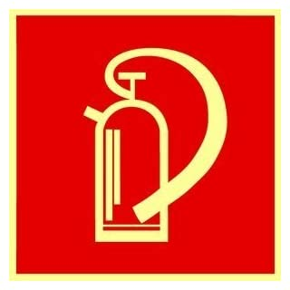 Original fire extinguisher symbol sign.Andris® Din, BGV A8 plastic sheet, luminescent and self-adhesive 150 mm x 150 mm