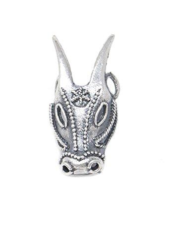 Marrocu gioielli - ciondolo maschera su boe argento brunito