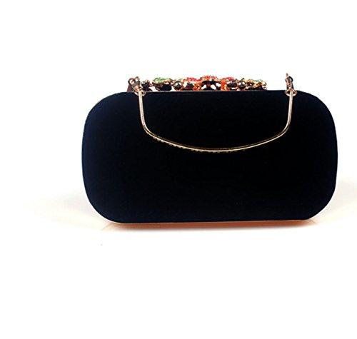 Donna Cerniera Frizione Fibbia Retrò Azienda Fiore Borsa Da Sera Borsa A Mano Vestito Bag Black