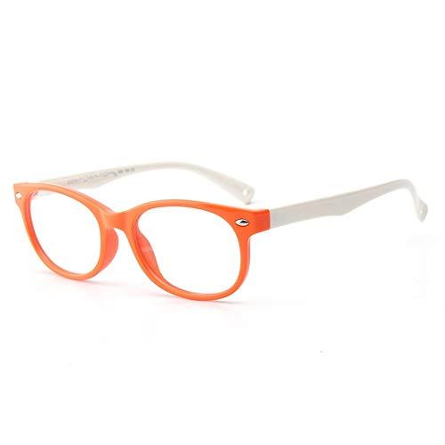 Gaorunli Stilvolle und schöne Brillenfassung Kinder Silikon Brille Flexible Kids Brillengestell mit Brillenband für Jungen Mädchen - Lila und Gelb (Color : Orange)
