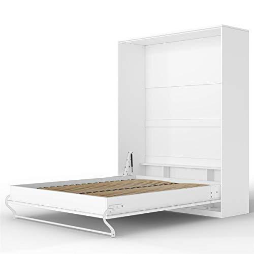 SMARTBett Standard 160x200 Vertikal Weiss Komfort Lattenrost Schrankbett | ausklappbares Wandbett, ideal geeignet als Wandklappbett fürs Gästezimmer, Büro, Wohnzimmer, Schlafzimmer