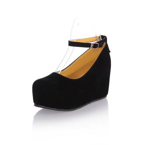 VogueZone009 donna,smerigliato PU pure scarpe a punta chiusa e tonda coi tacchi alti,cuneo piattaforma,fibbia Nero