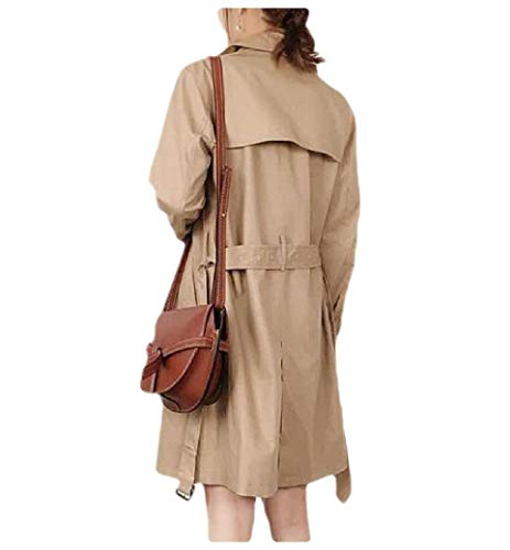 Energy Women's Classic Midi Jacket Belted Solid Color Trench Coat Outwear Khaki XS Sleeve Belted Coat