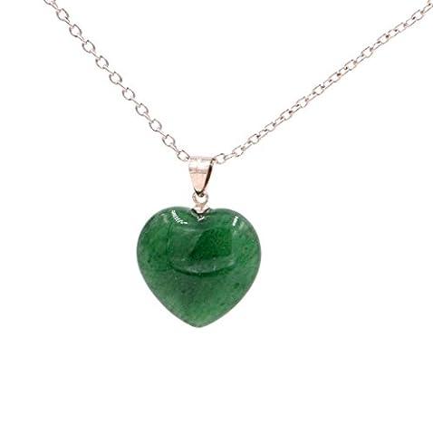 Green Jade Crystal Heart Pendant Necklace 18'' -20'' (in Organza Bag).