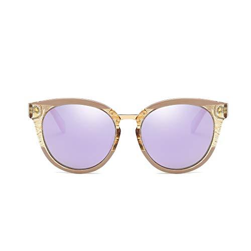 Honneury Polarisierte Sonnenbrille Retro Klassische Sonnenbrille für Frauen UV Schutzbrille (Farbe : Pink Frame/Purple Lens)