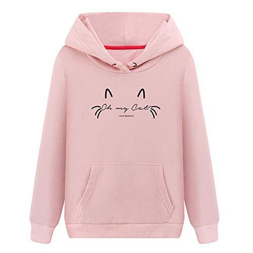 Damen Hoodie, VEMOW Plus Größe Langarm Brief Gedruckt Sweatshirt Jumper Bluse(X3-Rosa, L/38)