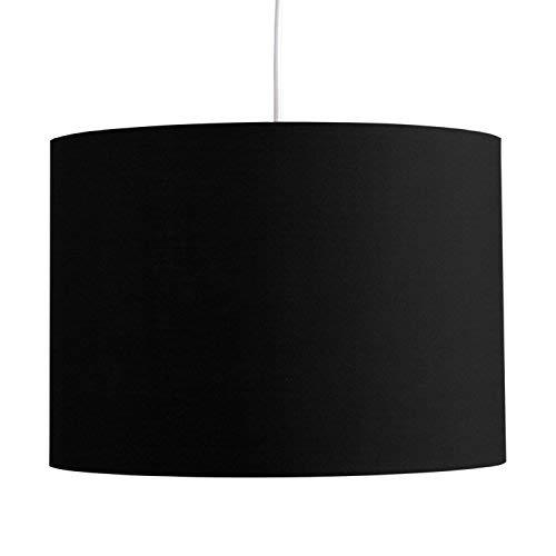 MiniSun - Großer moderner Trommel-Lampenschirm in Zylinderform mit schwarzem Finish - für Hänge- und Pendelleuchte oder Stehlampe