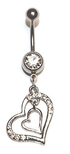 Gioielli moda, in acciaio chirurgico, a forma di doppio anello ombelico a forma di cuore e acciaio inossidabile, cod. bnr1261w