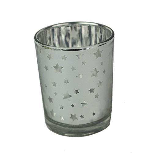 TAOtTAO Kerzenhalter aus Gold und Silber Mercury Glass Votive Tealight Kerzenhalter für Hochzeiten Partys und Inneneinrichtungen (A)