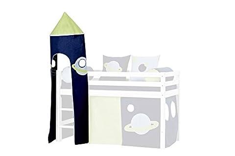 Hoppekids Space Turm für Halbhochbett, Spielbett, Hochbettinklusiviv Gestell, Textil, blau, 45 x 45 x 185