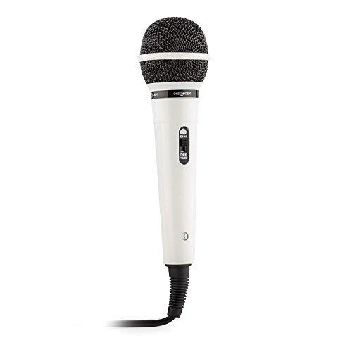OneConcept CD-202WH - Mikrofon, Gesangsmikrofon, dynamisches Karaoke-Mikrofon, Uni-direktional, Nierencharakteristik, 1,5 m Kabel, 6,3 mm Klinken-Anschluss, Empfindlichkeit: 76 db, weiß