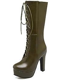 Botas de mujer botas de montar botas de combate de invierno primavera polipiel oficina informal y Carrera Chunky talón verde blanco negro 4A-4,verde,3/4 pulg US5.5 / UE36 / UK3.5 / CN35