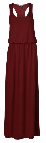 Fast Fashion Damen Armelloses Racerback Toga Puff Ball Maxi Kleid (EUR 36/38 - UK (8-10), Wein) (Kleid Puff Ball)