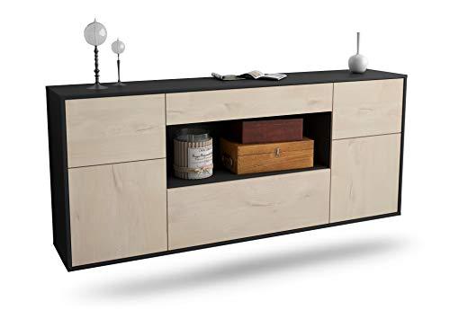 Dekati Sideboard Visalia hängend (180x77x35cm) Korpus anthrazit matt | Front Holz-Design Zeder | Push-to-Open | Leichtlaufschienen