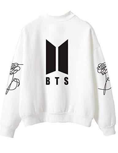BTS Pullover Damen, Teenager Mädchen Bangtan Boys Love Yourself BTS Langarm Sweatshirt Pulli für Armee Suga Jimin Jin Jung Jook J-Hope Rap-Monster V Langarmshirts Oberteile Tops Shirts (Weiß, M)