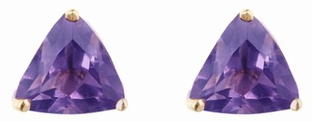 9ct Yellow Gold Real Amethyst 5mm Trillion Claw Set Stud