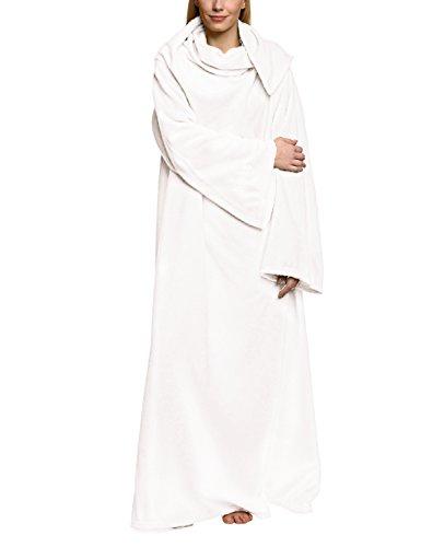 Snug Rug Lite 260g pro m² Fleecedecke mit Ärmeln, kuschelige Wohndecke mit den Maßen: 152 cm x 213 cm, Farbe: Weiss -