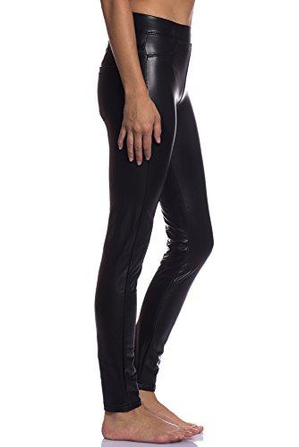 Abbino 3D-6659 Imitazione Jeggings in Pelle Donna - Made in Italy - 1 Colore - Mezza Stagione Autunno Inverno Pantaloni Collant Slim Fit Casual Libero Skinny Slim Eleganti Classico Modello Nero