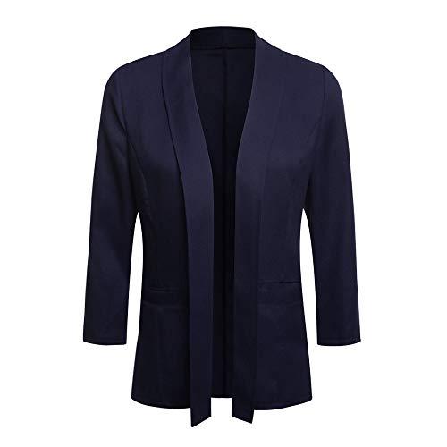 iHENGH Damen Herbst Winter Bequem Lässig Mode Frauen Mini Anzug Lässige 3/4 Ärmel Offene Front Work Office Blazer Jacke Strickjacke(S,Marine) -