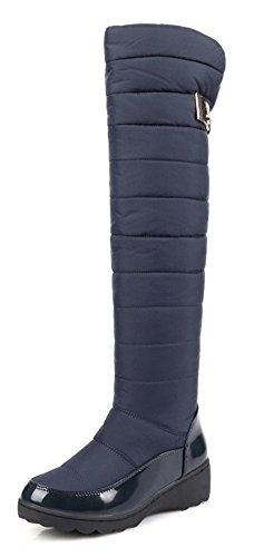 Aisun Femme Mode Tige Haute Cuissardes Bout Rond Bottes Bleu