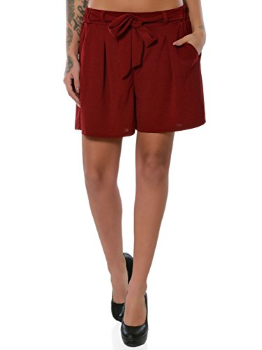 Damen Shorts Hot-Pants Kurze Sommer Hose Chino Stoffhose No 15885, Farbe:Bordeaux, Größe:L / 40