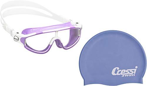 Cressi Baloo Premium Schwimmbrille Kinder 2/15 Jahre Antibeschlag und 100% UV Schutz + Tasche - Hergestellt in Italien + Silikon Hypoallergen Badekappe für Kinder und Erwachsene - Hohe Qualität