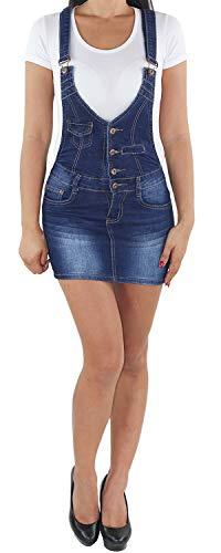 Sotala Damen Jeans Latzrock Mini Rock Latzjeans Jeansrock Minirock Träger Stretch Jeanskleid Minikleid Jeansmini Denim Latzkleid Sommerkleid A 44 (XXL)