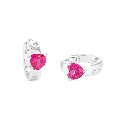 amor Mädchen-Creolen mit pinken Zirkonia-Herzen aus rhodiniertem 925er Sterling Silber