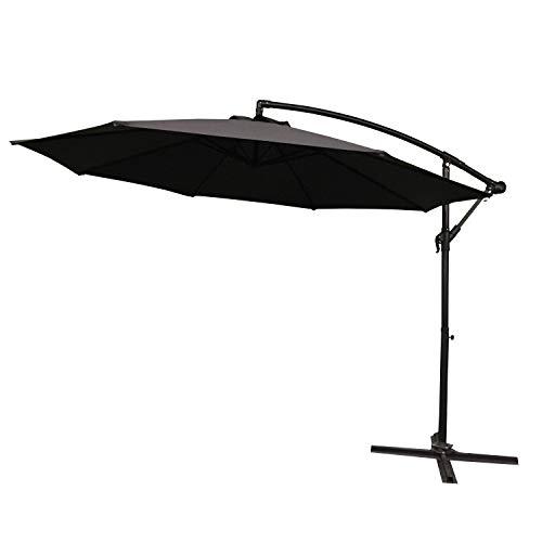 LARS360 Dunkelgrau Ø350cm Aluminium Sonnenschirm Marktschirm Balkonschirm Gartenschirm Ampelschirm Kurbelschirm Gartenschirm UV40+ Schutz (Dunkelgrau ohne Solar LED)
